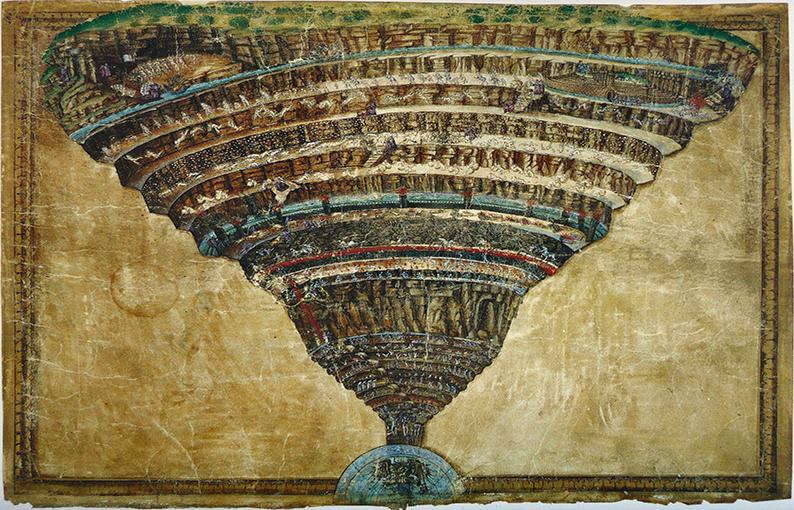 Carta dell'Inferno di Dante